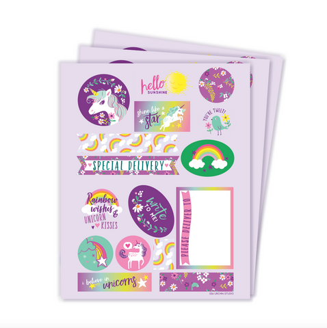 Unicorn stickers & labels set