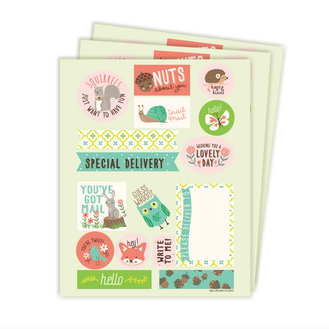 Woodland stickers & labels set