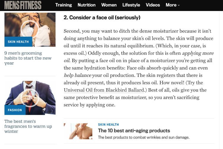 Men's Fitness suggests Blackbird Face Oil to combat oily skin