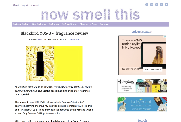 "Y06-S called ""one of my favorite perfumes of the year"" on Now Smell This"