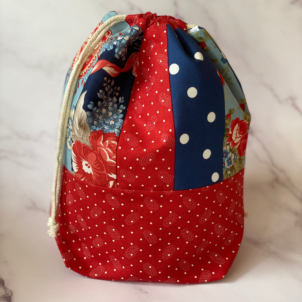 Patchwork Drawstring Knitting Project Pouch - Medium