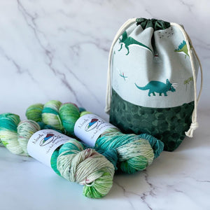 PRE ORDER - Drawstring Knitting Project Pouch - Small -  Dinosaurs