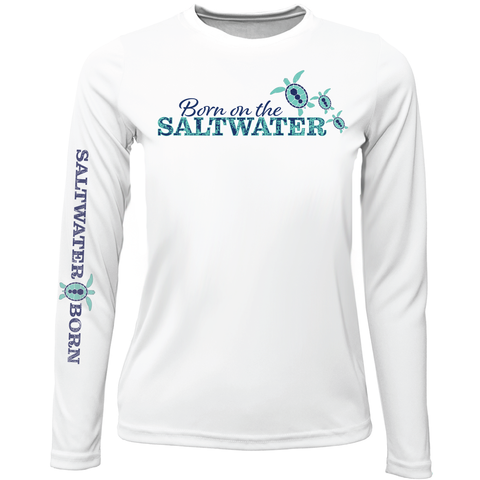 """Born On The Saltwater"" Girls Long Sleeve UPF 50+ Dry-Fit Shirt"