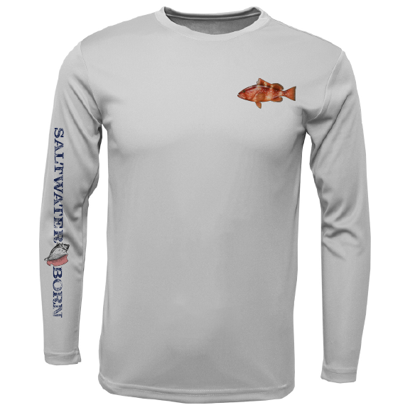 Grouper on Chest Long Sleeve UPF 50+ Dry-Fit Shirt