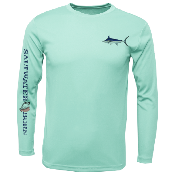Blue Marlin on Chest Long Sleeve UPF 50+ Dry-Fit Shirt