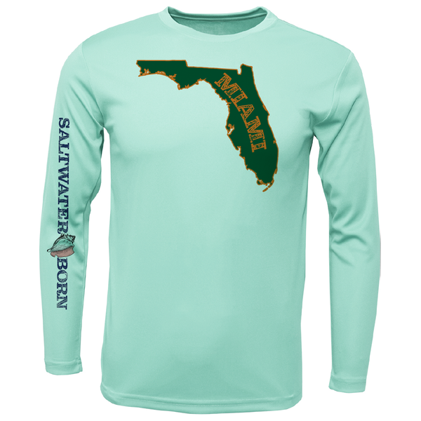 Orange and Green Long Sleeve UPF 50+ Dry-Fit Shirt