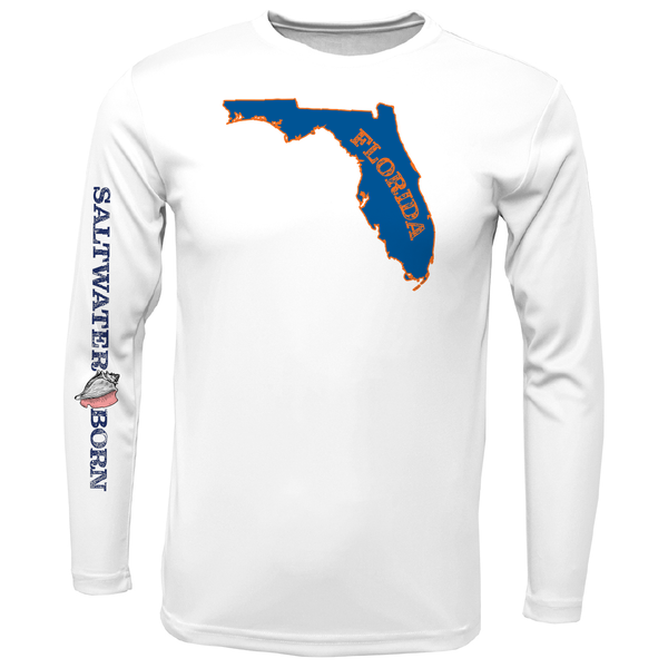 Orange and Blue Long Sleeve UPF 50+ Dry-Fit Shirt