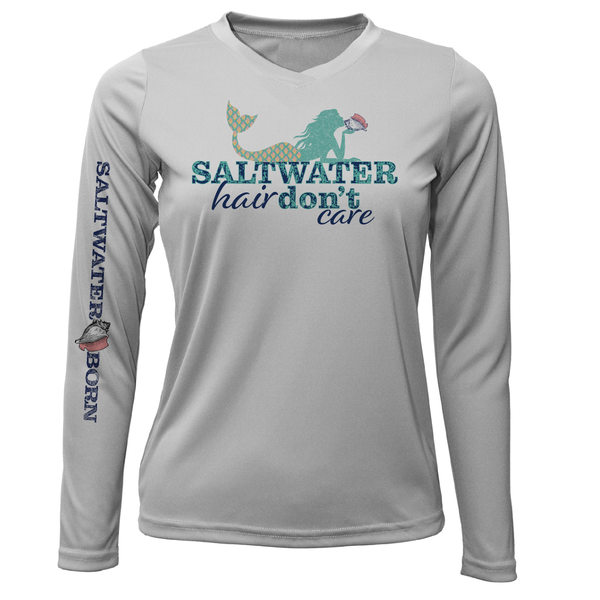 """Saltwater Hair...Don't Care"" Long Sleeve UPF 50+ Dry-Fit Shirt"