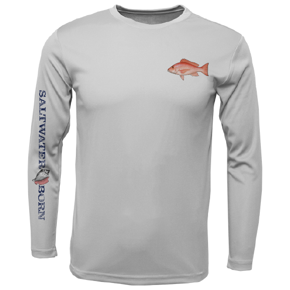 Snapper on Chest Long Sleeve UPF 50+ Dry-Fit Shirt