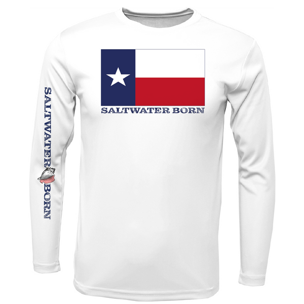 Texas Flag with Corpus Christi Logo Long Sleeve UPF 50+ Dry-Fit Shirt