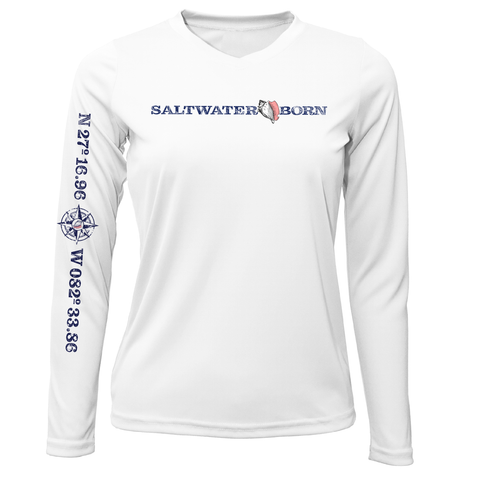 Siesta Key Saltwater Born Linear Logo Long Sleeve UPF 50+ Dry-Fit Shirt