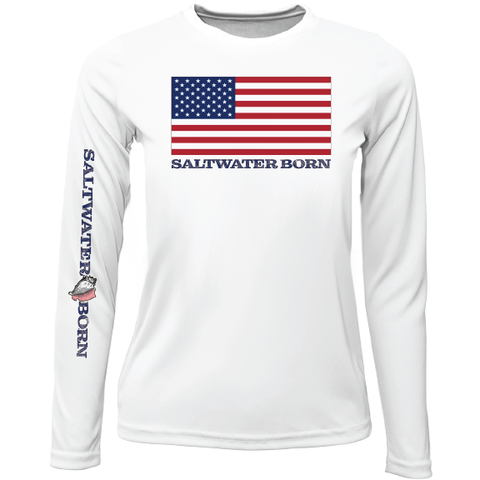 USA Born Girls Long Sleeve UPF 50+ Dry-Fit Shirt