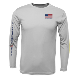 USA Blue Marlin Long Sleeve UPF 50+ Dry-Fit Shirt