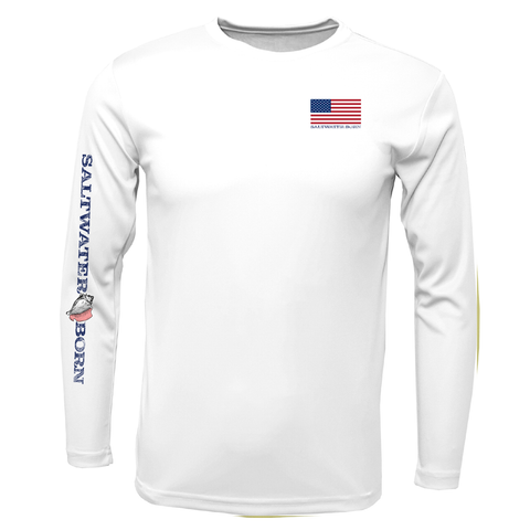 American Flag On Chest Long Sleeve UPF 50+ Dry-Fit Shirt
