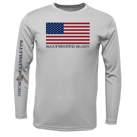 American Flag Boys and Girls Long Sleeve UPF 50+ Dry-Fit Shirt