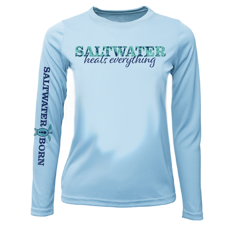 Saltwater Heals Everything Girls Long Sleeve UPF 50+ Dry-Fit Shirt