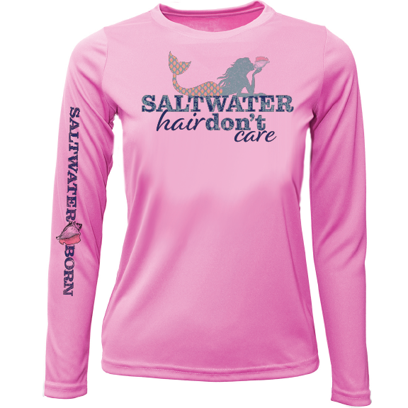 """Saltwater Hair...Don't Care"" Girls Long Sleeve UPF 50+ Dry-Fit Shirt"