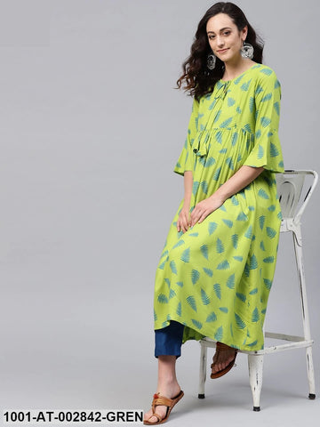 Green Printed Maternity Ready Made Kurti - Daleyza Collections