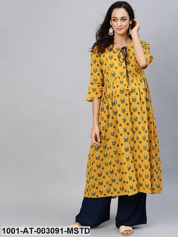 Mustard Cotton Maternity Ready Made Kurti - Daleyza Collections
