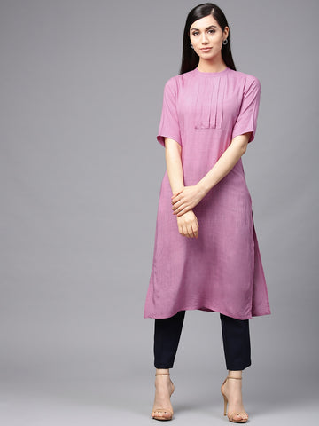 Purple Ready Made Short Sleeve Rayon Kurti - Daleyza Collections