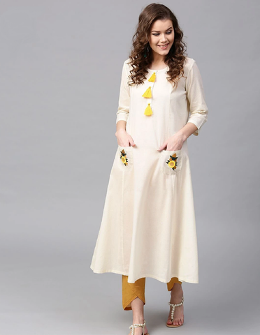 Off White Embroidered Ready Made Cotton Kurti - Daleyza Collections