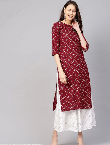 Red and White Ready Made Pure Cotton Kurti with Skirt - Daleyza Collections