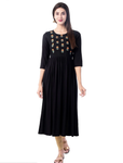 Black Rayon Ready Made Kurti - Daleyza Collections