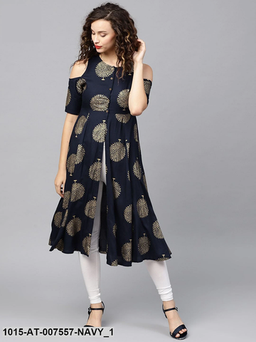 Navy Blue Cold Shoulder Rayon Ready Made Kurti - Daleyza Collections