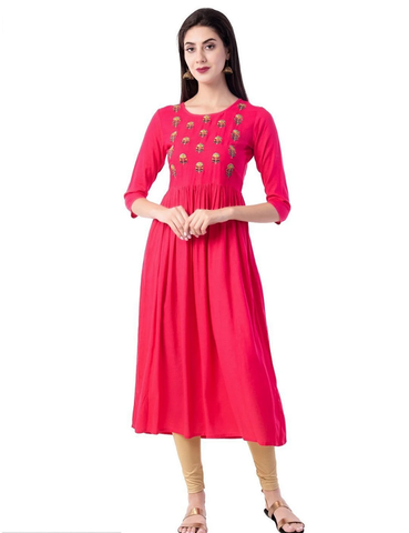Pink Rayon Ready Made Kurti - Daleyza Collections