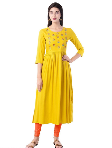 Yellow Rayon Ready Made Kurti - Daleyza Collections