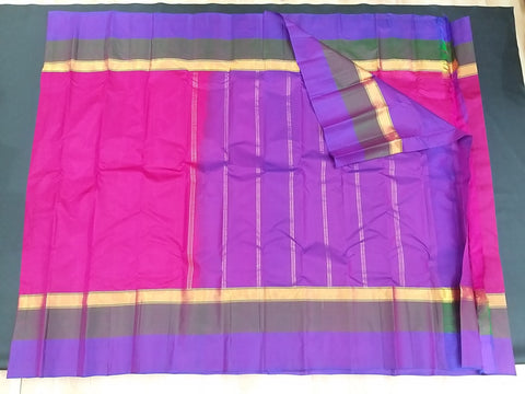 Pink and Purple Pure Kanchipuram Traditional Handloom Silk Saree - Daleyza Collections