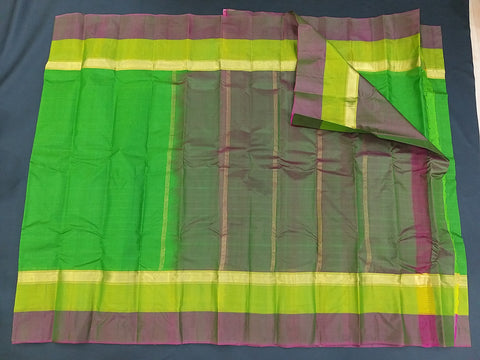 Green and Brown Pure Kanchipuram Traditional Handloom Silk Saree - Daleyza Collections