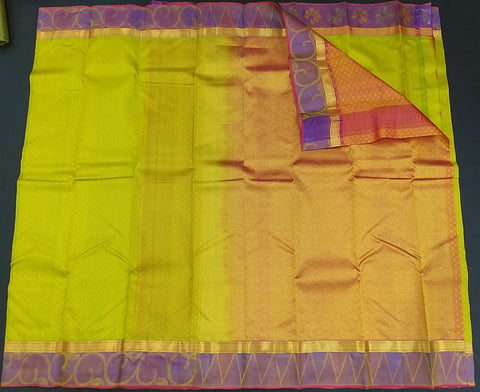 Green and Purple Pure Kanchipuram Traditional Handloom Silk Saree - Daleyza Collections