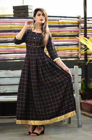 Black Rayon Gold Printed Long Kurti - Daleyza Collections