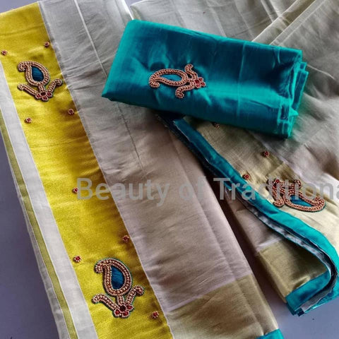 Blue Gold Tissue Set Mundu with Aari Work - Daleyza Collections