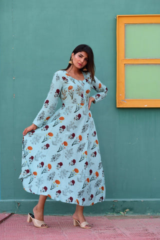 Blue Rayon Floral Printed Long Kurti - Daleyza Collections