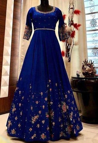 Blue Designer Embroidered Gown - Daleyza Collections