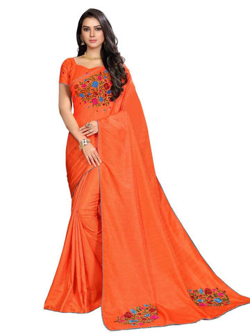 Bright Orange Embroidered Designer Saree - Daleyza Collections