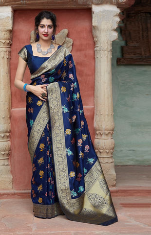 Dark Blue Jacquard Woven Banarasi Silk Saree - Daleyza Collections
