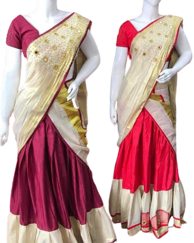 Kerala Designer Gold Tissue Dhavani with Aari Work - Daleyza Collections