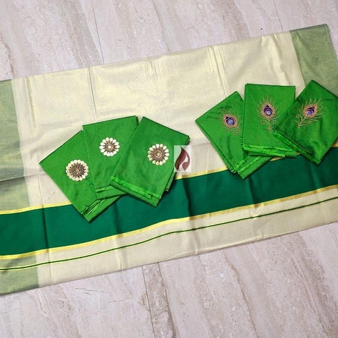 Kerala Traditional Gold Tissue Saree with Green Border - Daleyza Collections