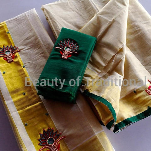 Green Gold Tissue Set Mundu with Aari Work - Daleyza Collections