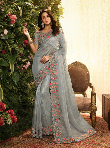 Grey Fancy Fabric Embroidery Designer Saree - Daleyza Collections