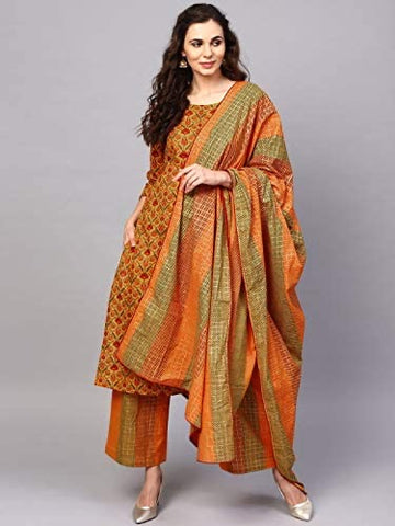 Pure Cotton Mustard Straight Ready Made Kurti Palazzo Dupatta Set - Daleyza Collections