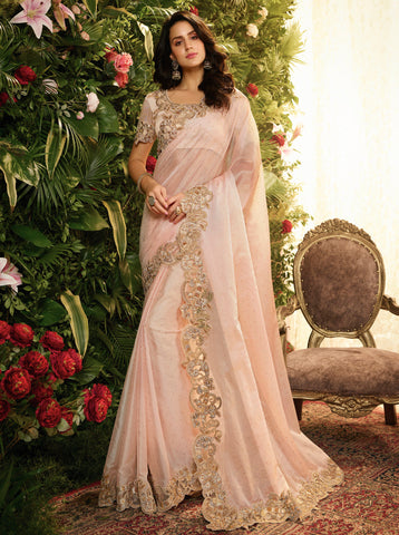 Light Pink Fancy Fabric Embroidery Designer Saree - Daleyza Collections