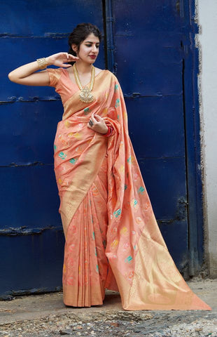 Light Orange Jacquard Woven Banarasi Silk Saree - Daleyza Collections