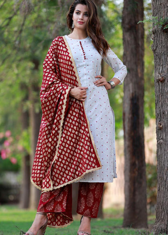 White Cottton Kurti with Palazzo and Dupatta Set - Daleyza Collections