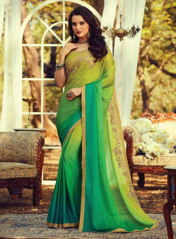 Multicolor Burberry Silk Embroidered Saree - Daleyza Collections