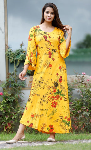 Yellow Long Kurti with Floral Prints - Daleyza Collections