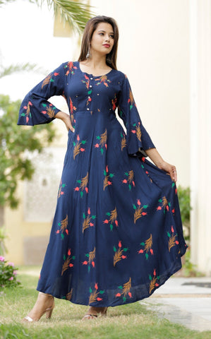 Blue Long Kurti with Floral Prints - Daleyza Collections